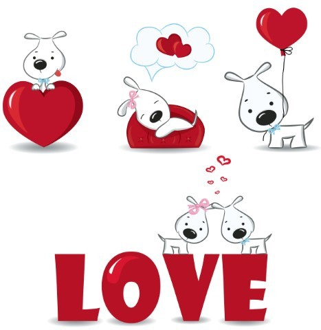 Free Cute Cartoon Doggy Vector For Valentine's Day - TitanUI