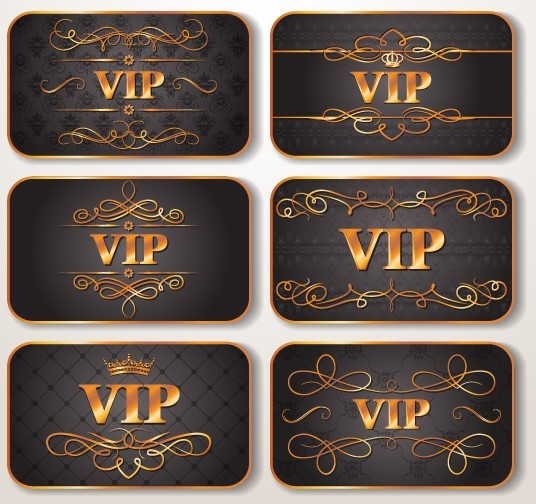 free elegant golden border vip card vector 03  titanui