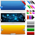 Exquisite Color Transition Banners and Ribbons Vector