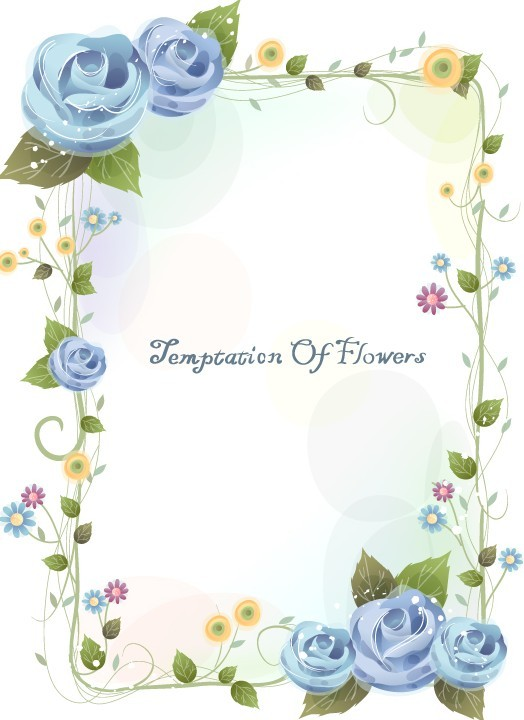 Flowers and Vine Vector Border Design 02