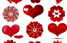 Red Heart-shaped Vector Material 01