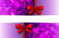 Red Ribbon and Purple Heart-shaped Background Vector Banner