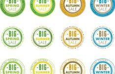Round Seasonal Sales Badge Vector