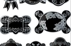 Set of Black Retro Vector Badges