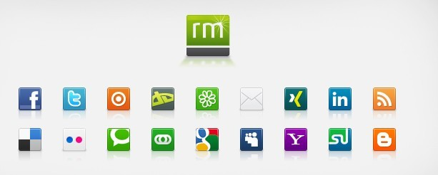 Simple Square Social Media Icons including facebook , twitter , issuu ...