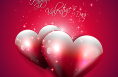 Vector Valentine's Day Background with Glossy Hearts
