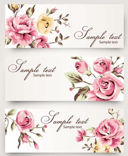 free vintage vector banner with watercolor flowers titanui. Black Bedroom Furniture Sets. Home Design Ideas