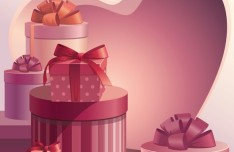 Pink Valentine's Day Gifts Vector 01
