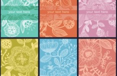 Set of Retro Vector Banners with Floral Patterns 04