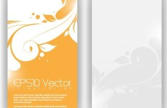 Vector Stylish Vertical Card with Flowers Background 03