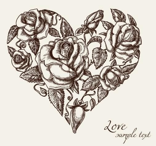 Vintage Hearts Vector Vector 03 · Vintage Floral