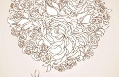 Vintage Floral Heart Vector 05