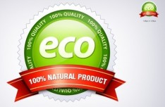 ECO Concept Badge with Natural Ribbons PSD