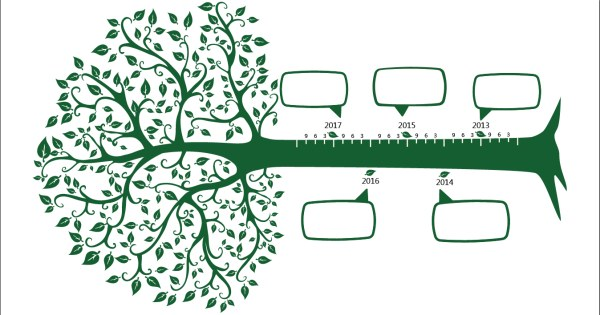 4804 Green Tree Timeline Vector on clothing infographic