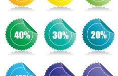 Set of Discounts Badge Vector
