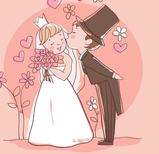 Free Lovely Cartoon Bride and Groom Vector Illustration 01 ...