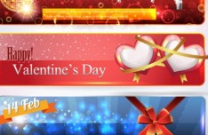 Set Of Warm Valentine's Day Cards Vector