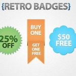 Retro Sales Badge and Ribbon PSD