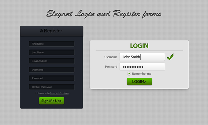 Elegant Register And Login