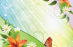 Vintage Spring Florals Background Vector 03
