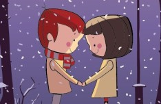 Cartoon Young Lovers Standing In the Snow