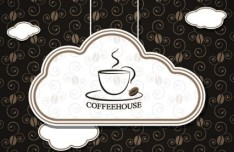 Cloud Like Coffee Label Vector