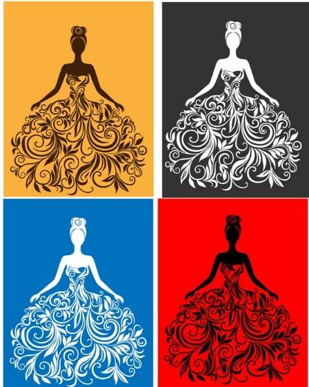 Free creative wedding dress design vector illustration 01 titanui