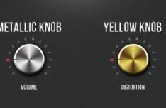 Metallic Volume and Distortion Knobs PSD
