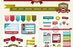 Colorful Web Badges and Ribbons Design Collection 01