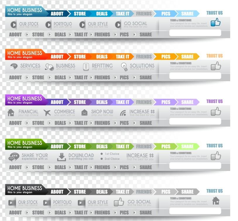 Free Creative Website Menu Designs Vector 02 - TitanUI
