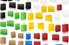 Set Of Vector Colorful Paper Shopping Bags