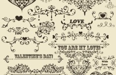 Set of Vintage Vector Floral Pattern Borders and Frames 04