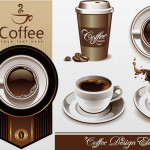 Coffee Cup and Coffee House Menu Design Elements Vector