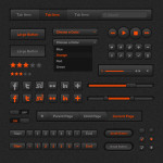 High Quality Dark and Orange Web UI Kit PSD