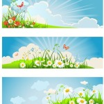 Set of Clean Spring Banners Vector Illustrations