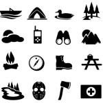 Dark Outdoors Icon Set Vector