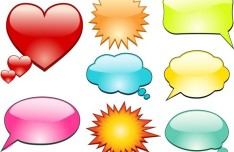 Lovely Cartoon Speech Bubbles Vector 04