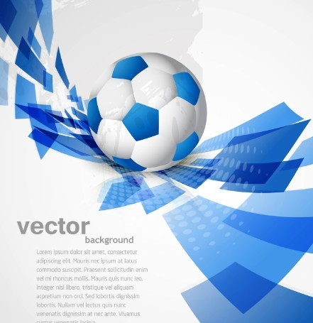 Fashion Abstract Vector Background with 3D blue blocks and a soccer .