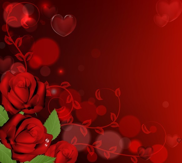 Free Vector Red Roses With Heart Background