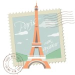 Paris Mon Amour Stamp and Postmark Vector