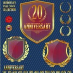 Set of Vector Anniversary Emblem sticker Labels and Tags 01