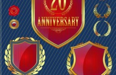 Set of Vector Anniversary Emblem sticker Labels and Tags 02