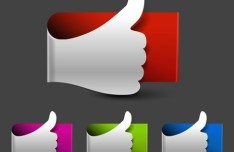 Colored Thumb Up & Like Labels Vector 01