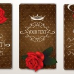 Vintage Leather Cards with Flowers Vector
