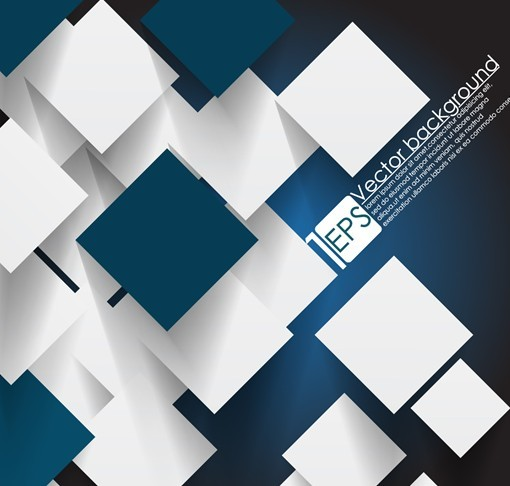 Vector Abstract Technology Background with 3D Blue and white Squares.