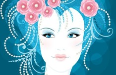 Fashion Floral Hairstyle Vector Girl 04