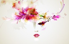 Fashion Floral Hairstyle Vector Girl 09