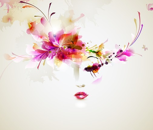 free fashion floral hairstyle vector girl 09   titanui