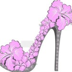 Creative Pink Floral High-Heeled Shoes Vector