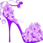 Creative Purple Floral High-Heeled Shoes Vector